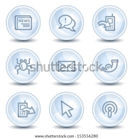 Internet web icons set 2, light blue glossy circle buttons