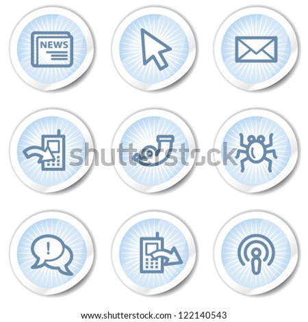 Internet web icons set 2, light blue stickers