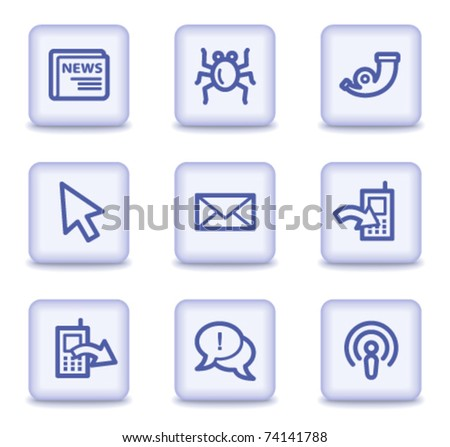 Internet web icons set 2, light violet glossy buttons