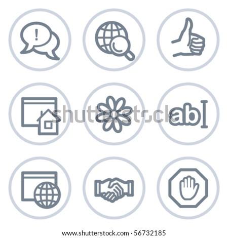 Internet web icons set 1, white circle series - stock vector