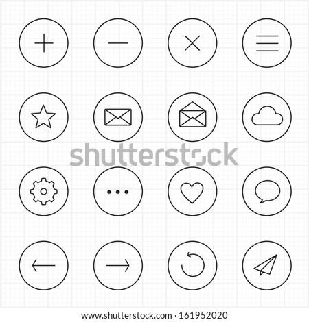 Internet web mobile with circle line icons white background - stock vector