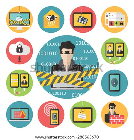 Internet web security set, hacker, virus protection and email spam set. Flat design vector icons. - stock vector