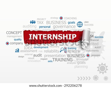Internship - career issues and concepts word cloud illustration. Design illustration concepts for business, consulting, finance, management, career. - stock vector
