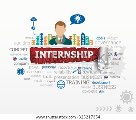 Internship - career issues concept word cloud and business man. Internship design illustration concepts for business, consulting, finance, management, career. - stock vector