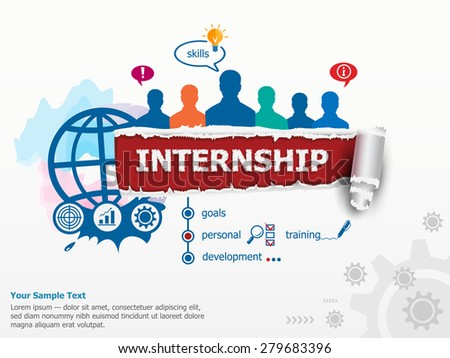 Internship concept group people flat design stock vector for Design consultancy internship