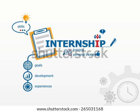 Internship concept and notebook for efficiency, creativity, intelligence. Hand writing Internship with blue marker - stock vector