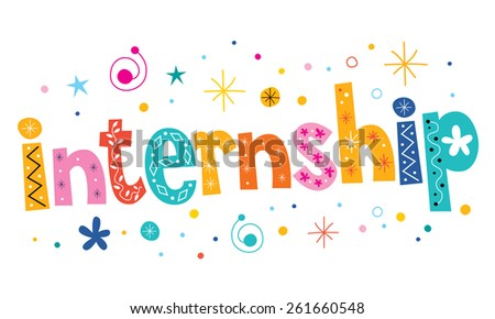 internship text decorative lettering type design - stock vector