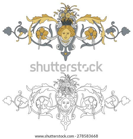Interpretation of coat of arms with cherub black outline and colored with shades of gold and silver - stock vector