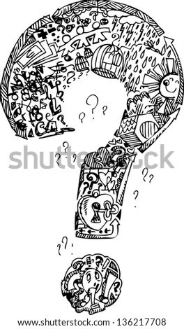 Interrogation mark full of sketched doodle things in black and white - stock vector