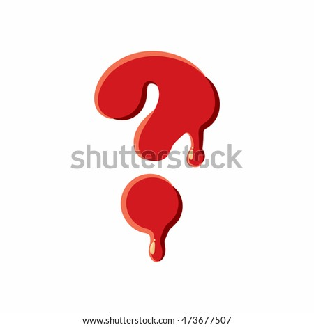 Interrogative sign isolated on white background. Red bloody interrogative, sign vector illustration