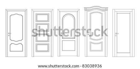 Interroom and entrance doors - stock vector