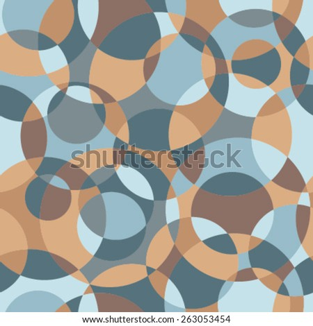 intersected circles mosaic seamless pattern orange, brown, blue - stock vector