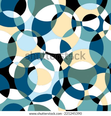 intersected circles mosaic seamless pattern yellow, black, white, blue