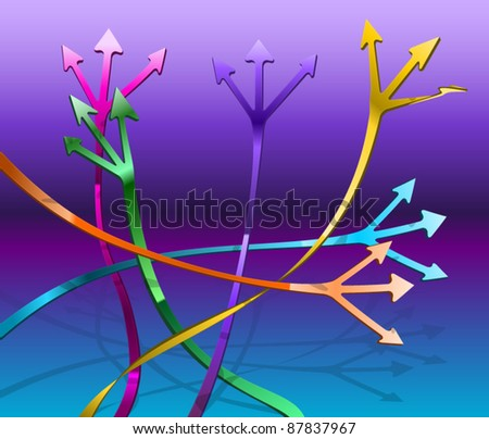 Intersecting paths with arrows leading in different directions - stock vector