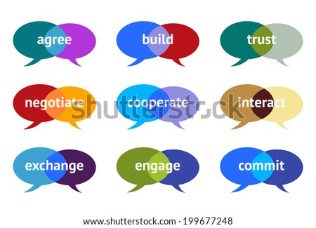 Intersecting Speech Bubbles With Constructive Proactive Remarks - stock vector
