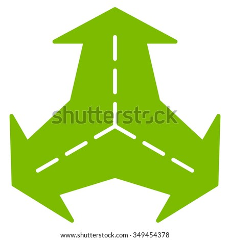 Intersection Directions vector icon. Style is flat symbol, eco green color, rounded angles, white background.