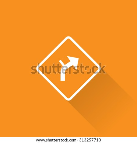 Intersection Within Curve Sign - stock vector