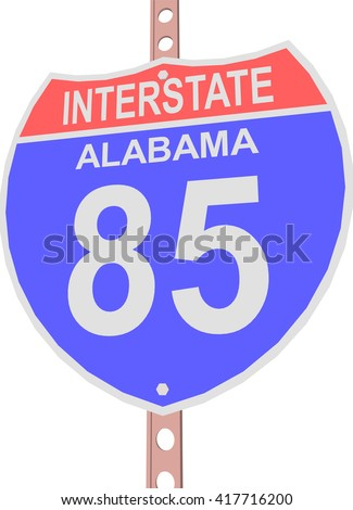Interstate highway 85 road sign in Alabama