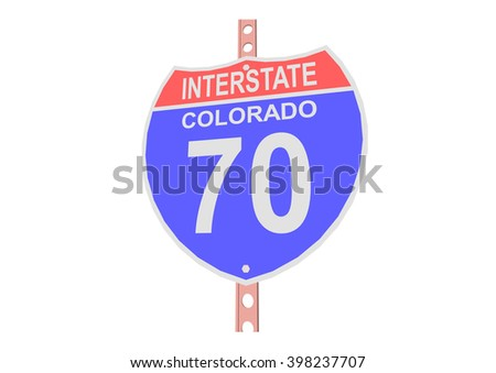 Interstate highway 70 road sign in Colorado