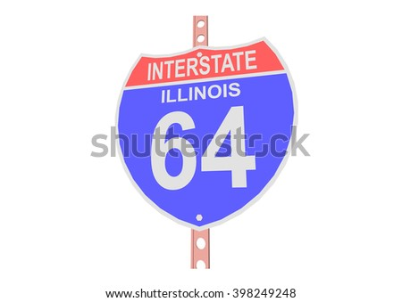 Interstate highway 64 road sign in Illinois - stock vector