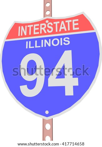 Interstate highway 94 road sign in Illinois - stock vector