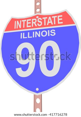 Interstate highway 90 road sign in Illinois - stock vector