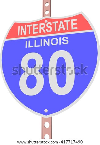 Interstate highway 80 road sign in Illinois - stock vector