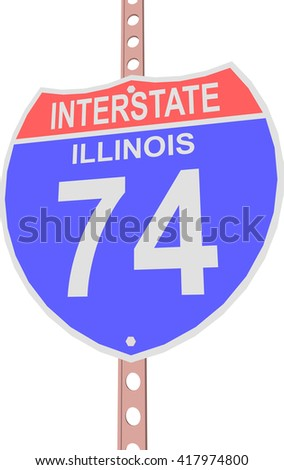 Interstate highway 74 road sign in Illinois - stock vector