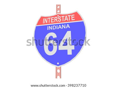 Interstate highway 64 road sign in Indiana