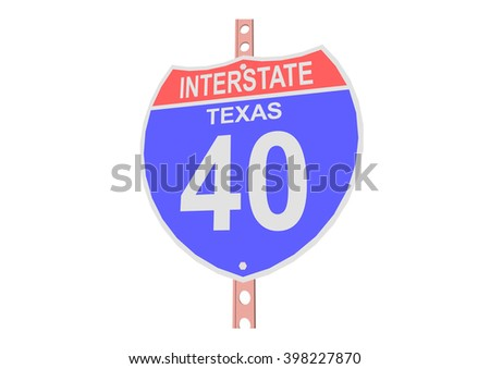 Interstate highway 40 road sign in Texas