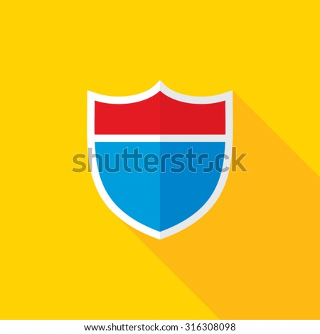 Interstate Road Shield Flat Long Shadow Icon - stock vector