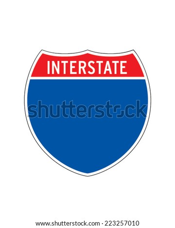 Interstate Road Sign Icon - Vector - stock vector