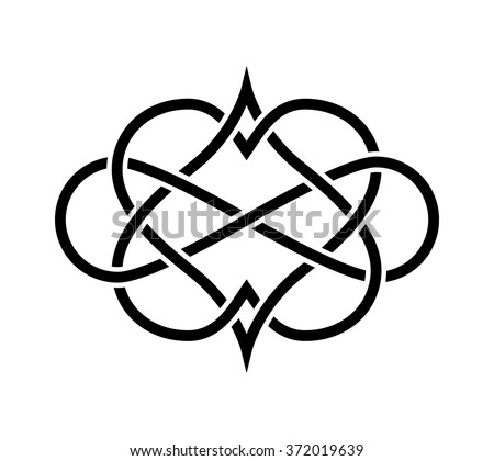 Intertwined Hearts Isolated Forever Love Tatoo Stock Vector