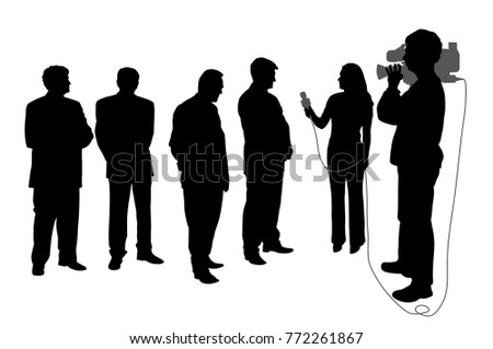 Interview with business group or political group leaders with cameraman.