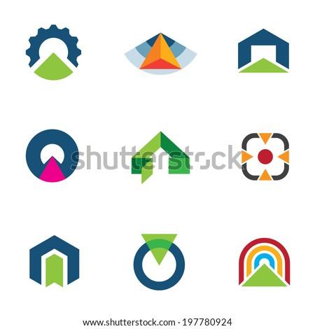 Into the success business point arrow building economic goal logos - stock vector