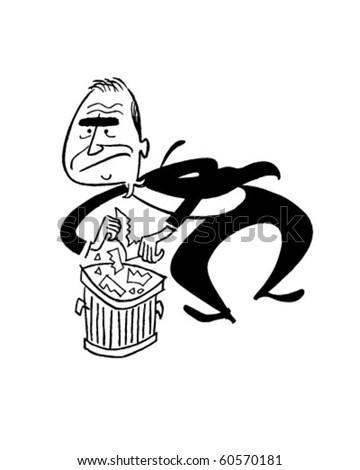 Into The Trash - Retro Clip Art - stock vector