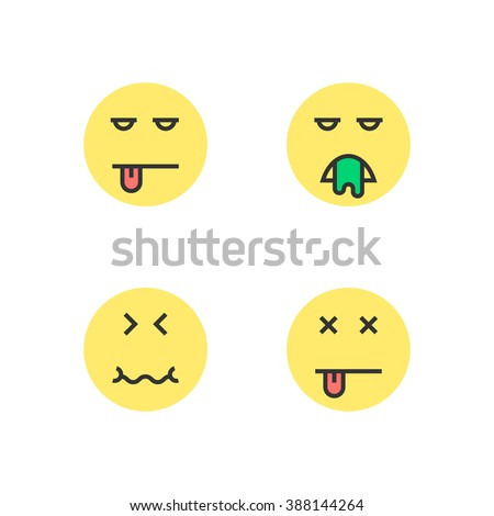 intoxication yellow thin line emoji. concept of wc, bad diet, puke, fever, poisoning, retching, sad, defecate, tension. flat style trend modern logotype design vector illustration on white background - stock vector