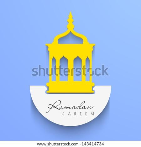 Intricate Arabic lamp on blue background with text Ramadan Kareem. - stock vector