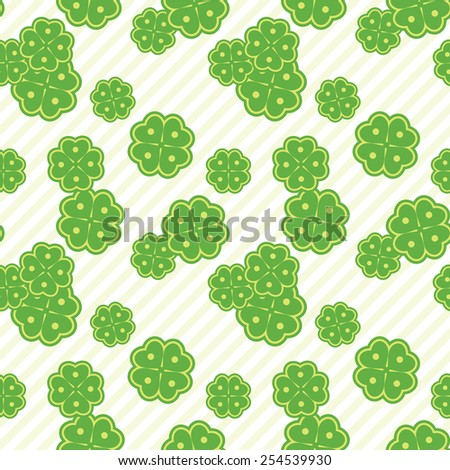 Intricate colorful seamless texture with clover with four leaves - stock vector