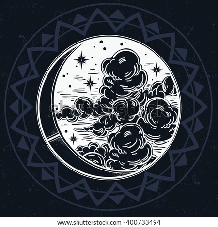 Intricate hand drawn ornate crescent moon with stars and clouds. Isolated Vector illustration.Tattoo art, astrology, spirituality, alchemy, magic symbol. Ethnic, mystic tribal element for your use. - stock vector