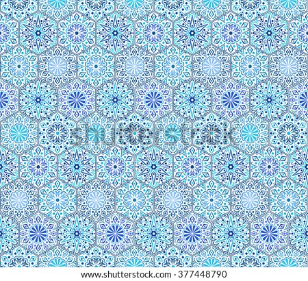 Intricate Indigo Tile Pattern. Traditional Persian seamless pattern. Hexagon shape, curving flowers with floral elements. Blue white flower design. Hippie, boho chic. Vector patchwork fabric. - stock vector