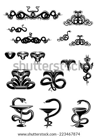 Intricate vector black and white snake icons or mascots with coiled swirling snakes and serpents