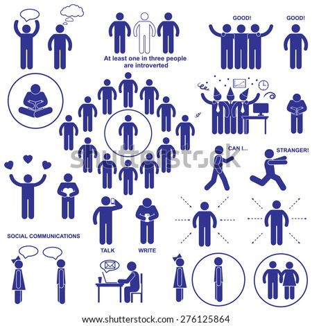 Introverts and extroverts vector pictograms. Set stick human figures - stock vector