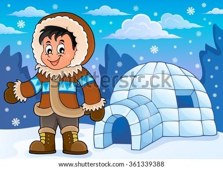 Inuit theme image 2 - eps10 vector illustration. - stock vector