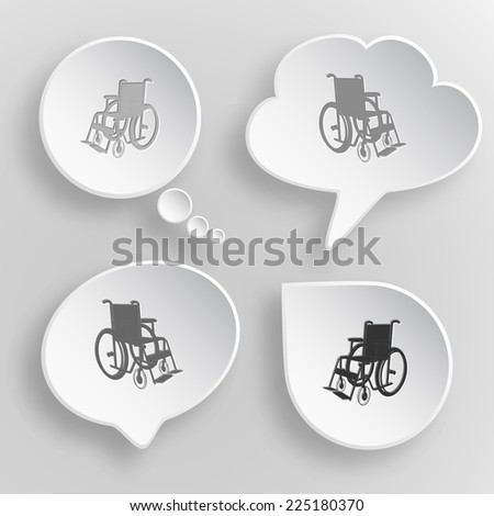 Invalid chair. White flat vector buttons on gray background. - stock vector