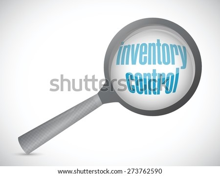 inventory control magnify glass sign concept illustration design over white - stock vector