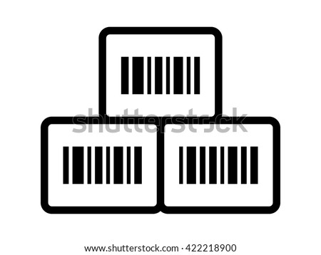 Inventory management boxes with barcode line icon for apps and websites - stock vector