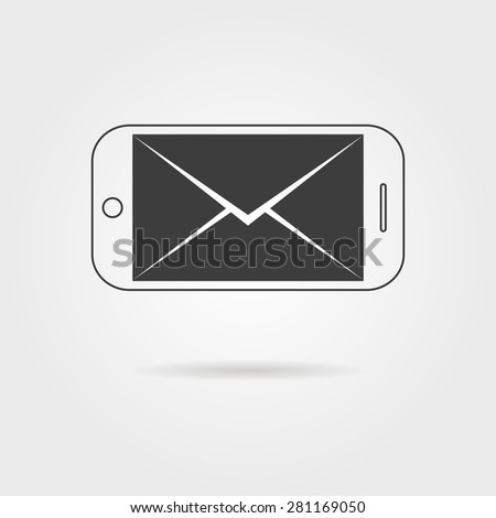 inverted black smartphone and letter icon with shadow. concept of support, spam, document, mobile apps, sms. isolated on grey background. flat style trend modern logotype design vector illustration - stock vector