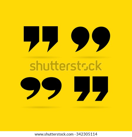 Inverted quote commas vector illustration isolated on yellow background - stock vector