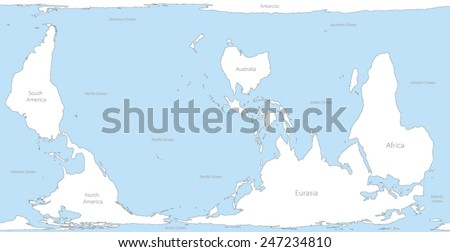 Inverted world maps. Version for Australia, New Zealand and other countries in the Southern Hemisphere - stock vector